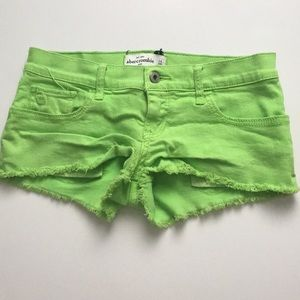 Abercrombie lime green jean shorts